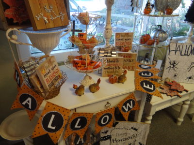 Halloween display with banner in the main house